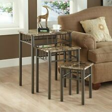 Monarch 3 Piece Metal Nesting Tables in Cappuccino Marble and Bronze