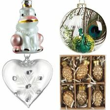 LUXURY GLASS CHRISTMAS DECORATIONS TREE BAUBLES & BOX SETS NORDIC QUIRKY UNUSUAL
