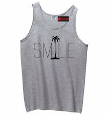 Smile Graphic Tee Palm Tree Mens Tank Top Beach Bum Happy Ocean Graphic Z3