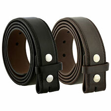 BLACK BROWN LEATHER BELT SNAP STRAP ON MENS WOMENS BUCKLE PLAIN DRESS CASUAL