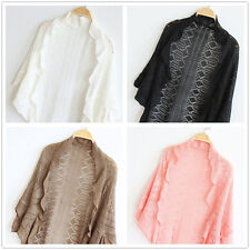 Women Sweater Crochet Knit Shawl Batwing Cape Hollow Out Shrug Cardigan Bolero