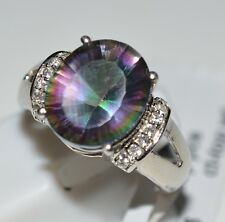 Genuine Mystic Topaz, White Topaz Pure 92.5 Solid Sterling Silver Ring Size US 7