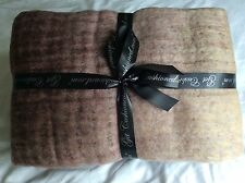 Decorative felted wool throw with brushed mohair effect in shades of Brown