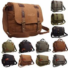 Canvas School College Messenger Satchel Shoulder Bumbag Work Travel Holdall Bag