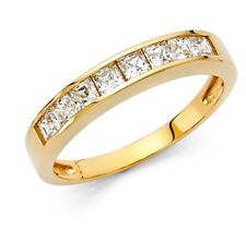 14k Solid Yellow Gold Diamond Wedding Band Ring Square Princess Cut Channel Set