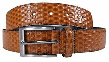 New Mens Genuine Leather Woven Textured Pattern Buckle Belts S-3XL
