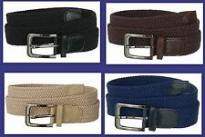 "Men's Woven Braided Elastic Stretch Golf Belt Wholesale,Black Brown 1-3/8"" 7001N"