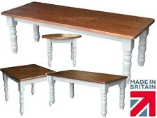 Painted Solid Pine Farmhouse Dining Tables. Grey Paint Contrast. Various Sizes!