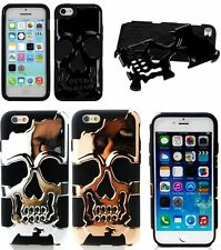 For iPhone 5C - HARD & SOFT RUBBER HYBRID HIGH IMPACT ARMOR CASE COVER SKULLS
