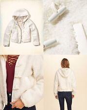 NWT HOLLISTER by ABERCROMBIE WOMEN'S Hooded Faux Fur Bomber Jacket ALL SIZE