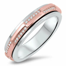 Women 5MM 925 Sterling Silver Pink Plated Spinner Ring Band CZ Pave Set Design