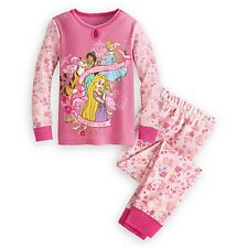 Disney Store Princess Cinderella Jasmine Rapunzel Long Sleeve 2 Piece Pajamas