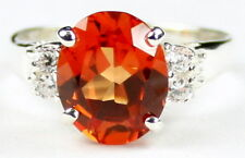 CLEMSON FANS! • SR123, Created Padparadsha CZ, 925 Sterling Silver Ladies Ring