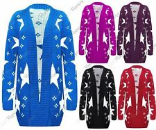 New Womens Star Printed Long Sleeve Jumper Open Front Knitted Cardigan Plus Size