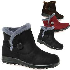 NEW LADIES FAUX FUR GRIP SOLE WOMENS WINTER SNOW ANKLE BOOTS WEDGE SHOES SIZE