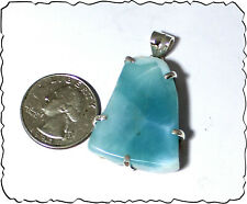 Beautiful Genuine Dominican Sky Blue Larimar .925 Sterling Silver Pendant
