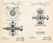 1891 Tesla Patent Drawing Alternating Electric Current Generator Art Prints
