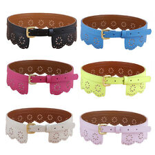 Lady Solid Color PU Leather Hollow Waistband Pin Buckle Floral Waist Belt LL090