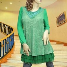 Green lace ruffle layer lined long sleeve dress tunic top #1590 Size L XL
