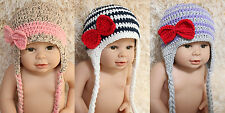 Handmade Cotton Knit Crochet Bow Baby Hat Cap Newborn Photo Prop 0-3Year New
