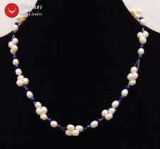 5-6mm White Rice Natural pearl and 4mm Blue lapis lazuli 17'' Necklace-nec6206