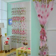 Pair of Sheer Curtain Voile Window Printing Flower Pattern Voile Drape Panel 2pc