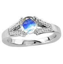 925 Sterling Silver Ring 6mm Natural Rainbow Moonstone White Color Gemstone Ring