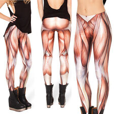 Womens Leggings Muscle Skinny Pants Stretchy Digital Printing Trousers Autumn