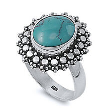 Women 20mm 925 Sterling Silver Simulated Turquoise Vintage Cocktail Ring Band