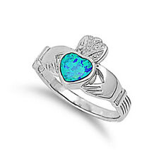 Women 12mm 925 Sterling Silver Simulated Blue Opal Heart Claddagh Ring Band