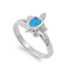Women 12mm 925 Sterling Silver Simulated Blue Opal Turtle Ring Band