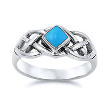 Men Women 8mm Sterling Silver Simulated Turquoise Celtic Knot Ring Band
