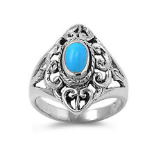 Men Women 21mm 925 Sterling Silver Simulated Turquoise Filigree Design Ring Band