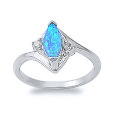 Women 13mm Sterling Silver Marquise Simulated Blue Opal Bypass Ladies Ring Band
