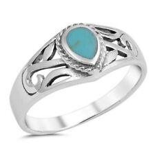 Women 7mm 925 Sterling Silver Tear Drop Simulated Turquoise Filigree Ring Band