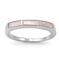 Women 3mm 925 Sterling Silver Simulated Pink Opal Ladies Ring Band