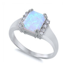 Women 10mm 925 Sterling Silver Square Simulated White Opal Ladies Ring Band
