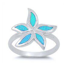 Women 17mm 925 Sterling Silver Simulated Blue Opal Starfish Ladies Ring Band