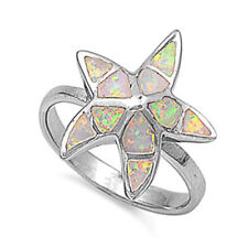 Women 18mm 925 Sterling Silver Simulated White Opal Starfish Ladies Ring Band