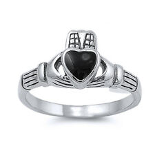 Men Women 10mm 925 Sterling Silver Simulated Black Onyx Heart Claddagh Ring Band