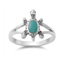 Women 14mm 925 Sterling Silver Simulated Turquoise Turtle Ladies Ring Band