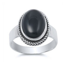 Women 12mm 925 Sterling Silver Oval Simulated Black Onyx Cocktail Ring Band