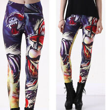 Stretchy Pants Leggings Womens Skinny Printed Cartoon Polyester Slim Trousers