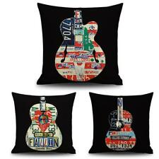 CREATIVE LINEN COTTON CUSHION COVER THROW PILLOW CASE HOME DECOR GUITAR PRINT