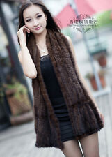 100% Real Genuine Knitted Mink Fur Scarf Shawl Stole Wrap Cape Ladies Vintage