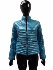 Moncler Women's Blue Quilted Biker Jacket, RRP £1425, BLUE