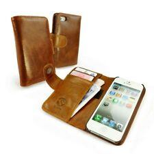 Tuff-Luv Brown Vintage Leather Wallet Case Cover & Screen Protection for phones