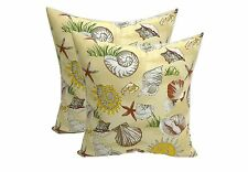 Indoor / Outdoor Tan Yellow Brown Seashell Square Throw Pillows - Choose Size