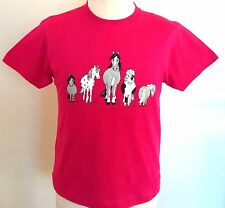 Childs Fuchsia Pink T Shirt With The Herd Horse and Pony Printed Design