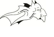 Vinyl Decal Sticker Flying Demon Outline Tablet, Laptops And Car Window